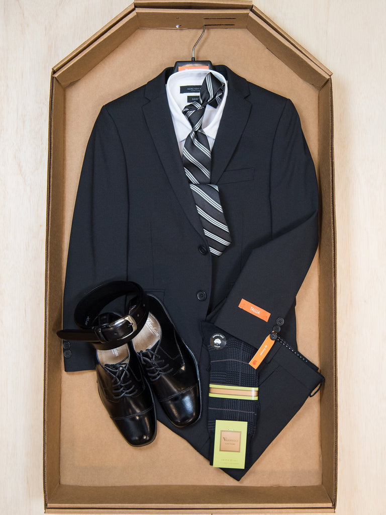 Complete Black Skinny Fit Suit Outfit 27860 Boys Suit Bundle Tallia