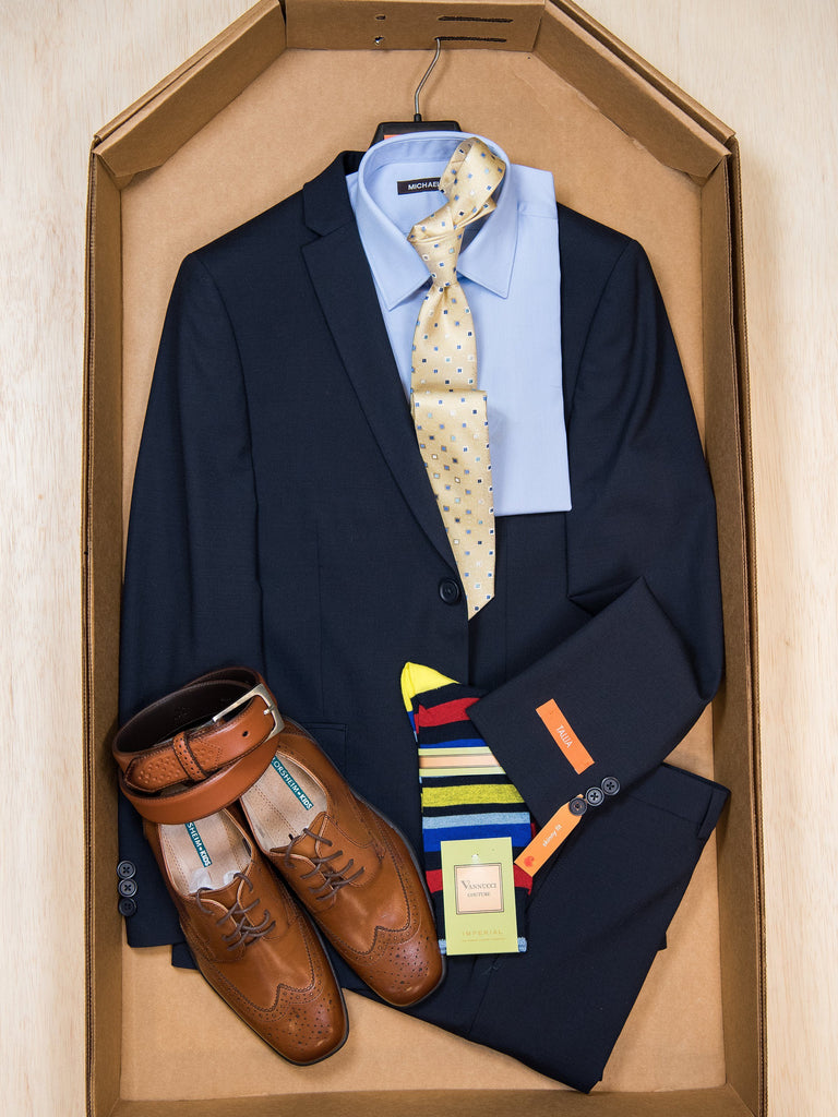 Complete Navy Skinny Fit Suit Outfit 27871 Boys Suit Bundle Tallia