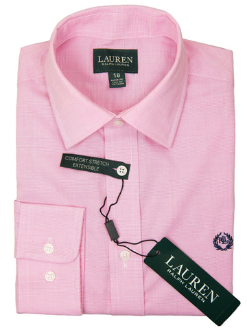 Lauren Ralph Lauren 27948 Boy's Dress Shirt-Pink-Tonal Plaid Boys Dress Shirt Lauren