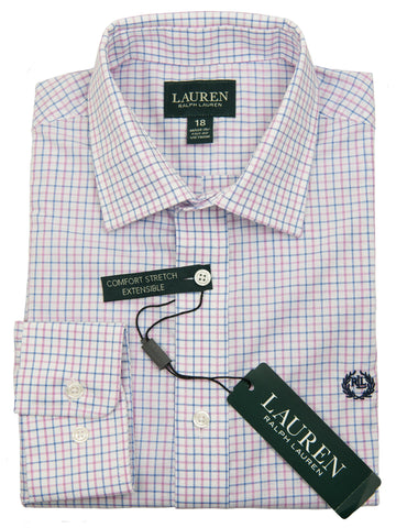 Lauren Ralph Lauren 27955 Boy's Dress Shirt-Blue/Pink-Plaid Boys Dress Shirt Lauren