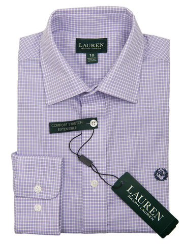 Lauren Ralph Lauren 27962 Boy's Dress Shirt-Lavender-Check Boys Dress Shirt Lauren