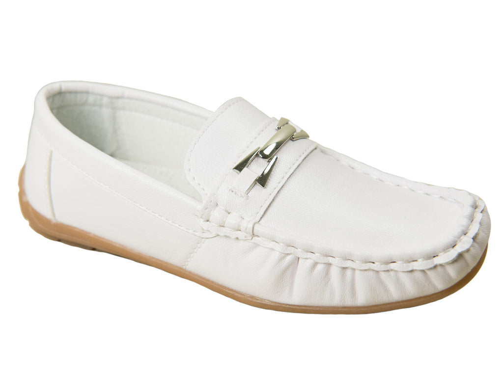 Josmo 28007 Boy's Shoe - Driving Bit Loafer - White Boys Shoes Josmo