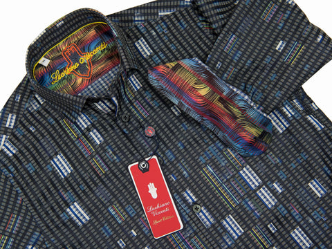 Luchiano Visconti Boy's Sport Shirt 28014 Grey Multi Color Boys Sport Shirt Luchiano Visconti