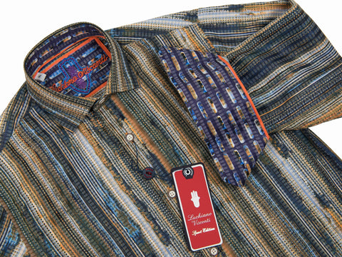 Luchiano Visconti Boy's Sport Shirt 28022 Multi Color Boys Sport Shirt Luchiano Visconti