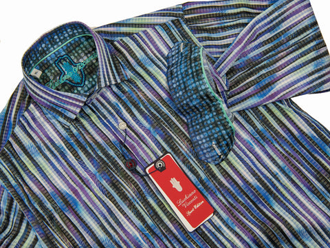 Luchiano Visconti Boy's Sport Shirt 28030 Purple/Multi Color Boys Sport Shirt Luchiano Visconti
