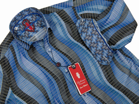 Luchiano Visconti Boy's Sport Shirt 28038 Blue Grey Boys Sport Shirt Luchiano Visconti