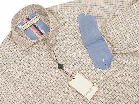 Luchiano Visconti Boy's Sport Shirt 28046 Tan Multi Color Check Boys Sport Shirt Luchiano Visconti