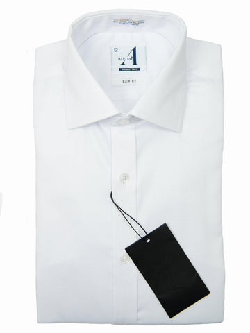 Alviso 28144 Boys Dress Shirt-Solid White-Slim Fit Boys Dress Shirt Alviso