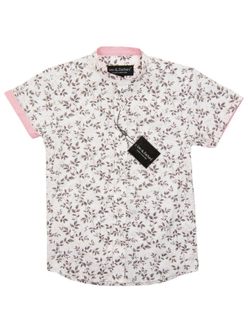 Leo & Zachary 28204 Boy's Short Sleeve Sport Shirt-Banded Collar-Grey/Pink Boys S/S Woven Leo & Zachary