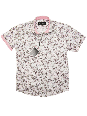 Leo & Zachary 28208 Boy's Short Sleeve Sport Shirt-Grey/Pink Boys S/S Woven Leo & Zachary