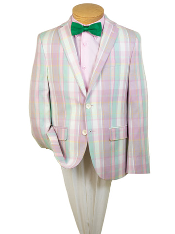 Summer Look 28242 Boy's Sport Coat - Plaid - Pink/Cream