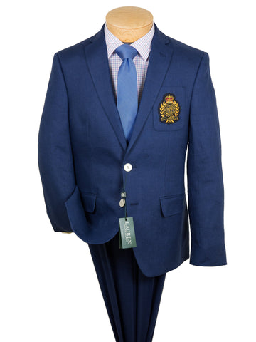 Image of Lauren Ralph Lauren 28305 Boy's Suit Separate Jacket - Solid Linen with Crest- Blue Boys Suit Separate Jacket Lauren