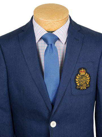 Lauren Ralph Lauren 28305 Boy's Suit Separate Jacket - Solid Linen with Crest- Blue Boys Suit Separate Jacket Lauren
