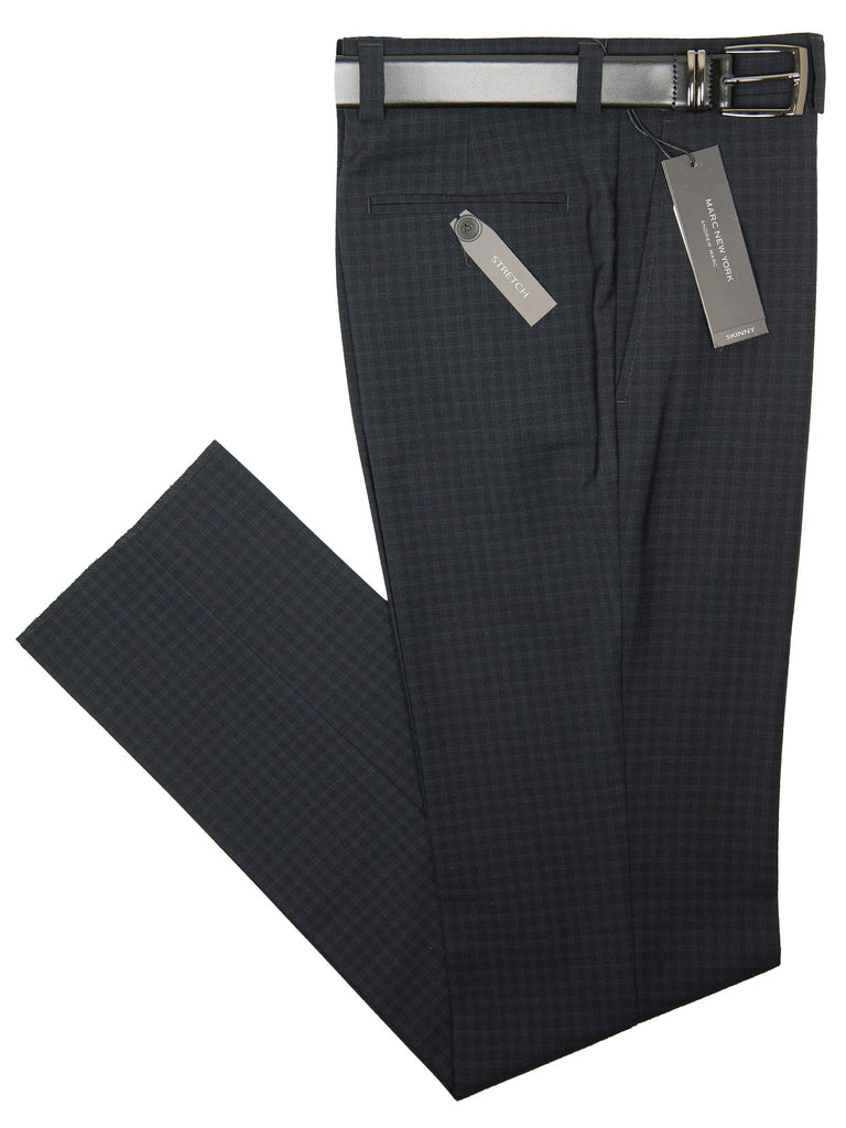 Andrew Marc 28331P Boy's Skinny Fit Pant - Check-Black Boys Dress Pant Andrew Marc