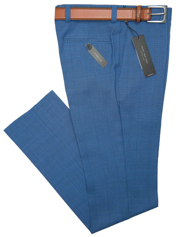 Andrew Marc 28338P Boy's Skinny Fit Pant -Plaid- Blue Boys Dress Pant Andrew Marc