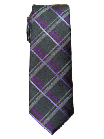 Boy's Tie 28489- Plaid-Charcoal/Burgundy Boys Tie Heritage House