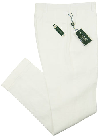 Lauren Ralph Lauren 28547P Boy's Suit Separate Pant- 100% Linen - White Boys Suit Separate Pant Lauren