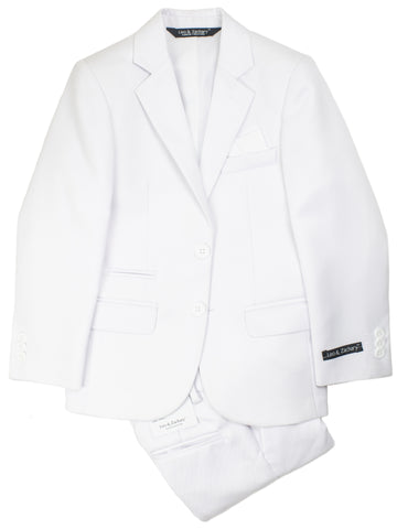 Image of Leo & Zachary 28582 Boy's Skinny Fit Suit - Solid - White