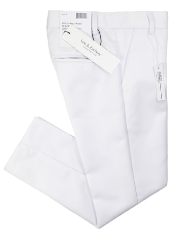 Leo & Zachary 28582 Boy's Skinny Fit Suit - Solid - White