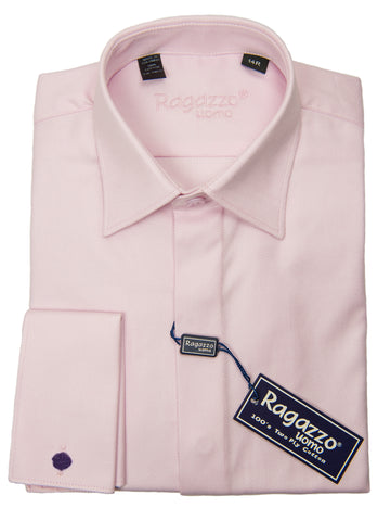 Ragazzo 28596 Boy's Dress Shirt - French Cuff-  Diagonal Tonal Weave - Light Pink