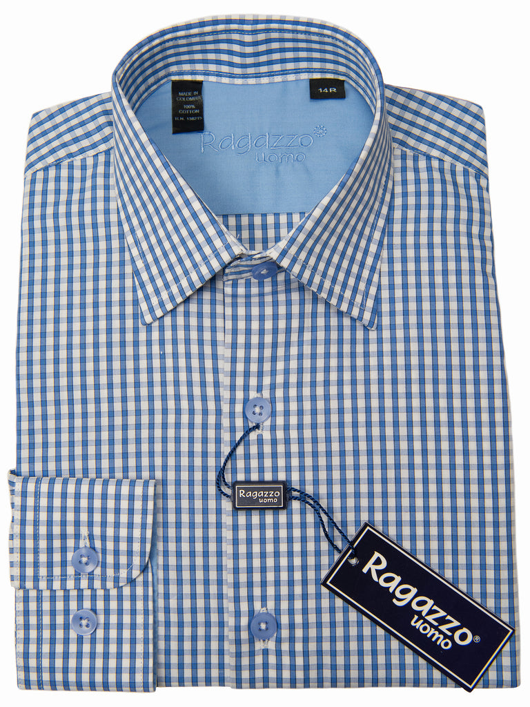 Ragazzo 28603 Boy's Dress Shirt - Check - Medium Blue