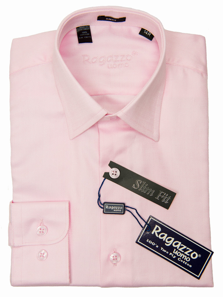 Ragazzo 28630 100% Boy's Slim Fit Dress Shirt - Tonal Herringbone - Bubble Gum