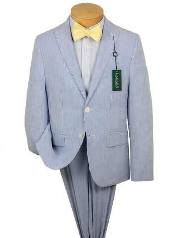 Image of Lauren Ralph Lauren 28696 100% Cotton Boy's Suit Separates Jacket - Seersucker - Blue/White
