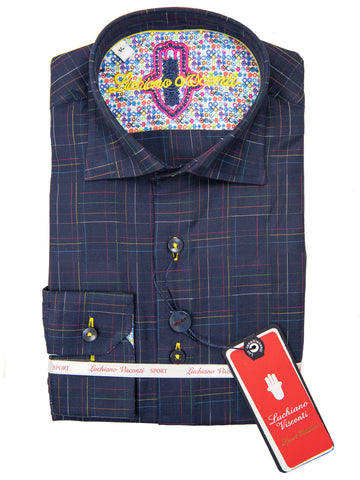 Luchiano Visconti 28718 Boy's Sport Shirt - Grid- Navy
