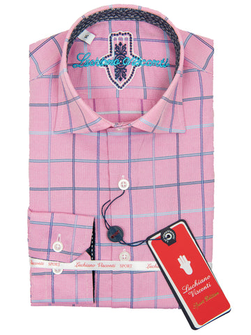 Luchiano Visconti 28726 Boy's Sport Shirt - Plaid - Pink
