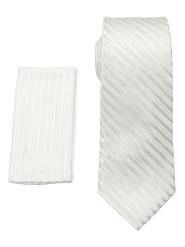 Heritage House 28805 100% Poly Tie/Pocket Square Set-Tonal Stripe- White