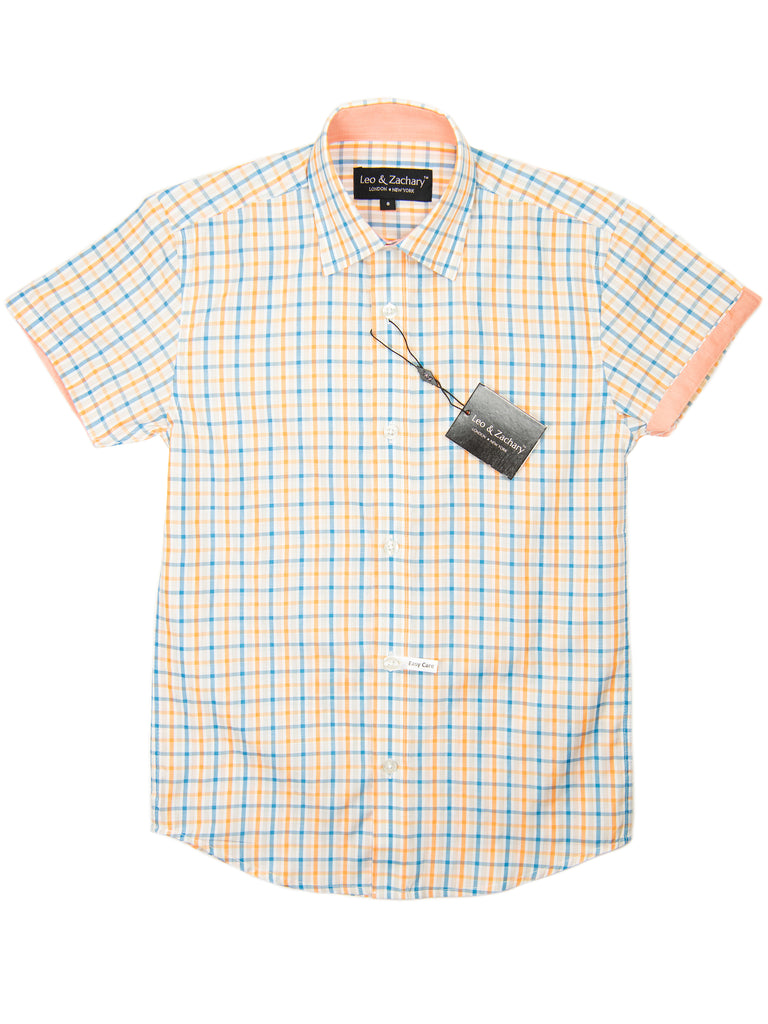 Leo & Zachary 28915 Boy's Short Sleeve Sport Shirt-Orange/Blue-Plaid