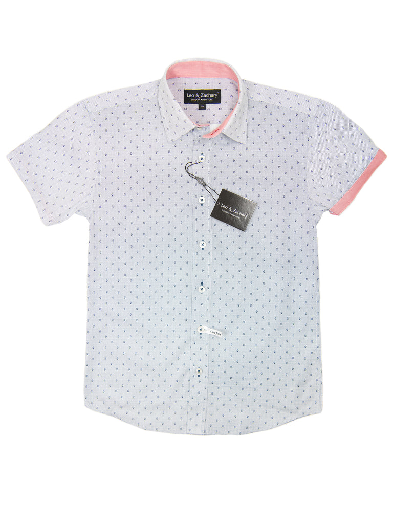 Leo & Zachary 28927 Boy's Short Sleeve Sport Shirt-Grey-Paisley