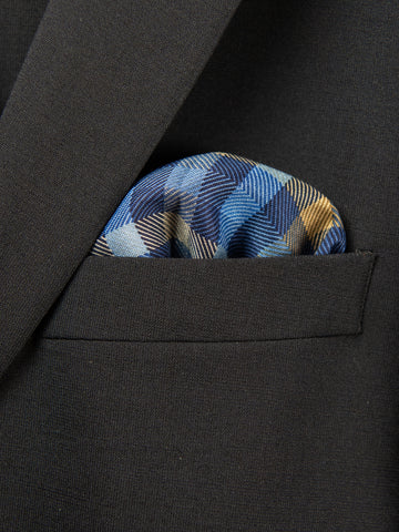 Boy's Pocket Square 29111 Blue/Khaki