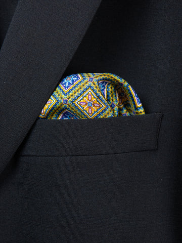 Boy's Pocket Square 29114 Yellow/Blue