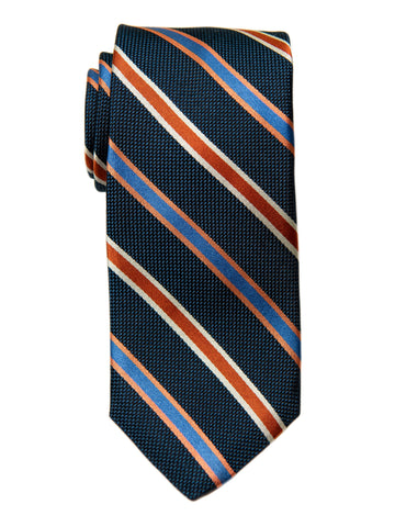 Dion 29191 Boy's Tie- Navy/Orange- Stripe