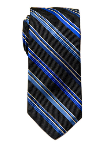 Dion 29193 Boy's Tie- Black/Blue- Stripe