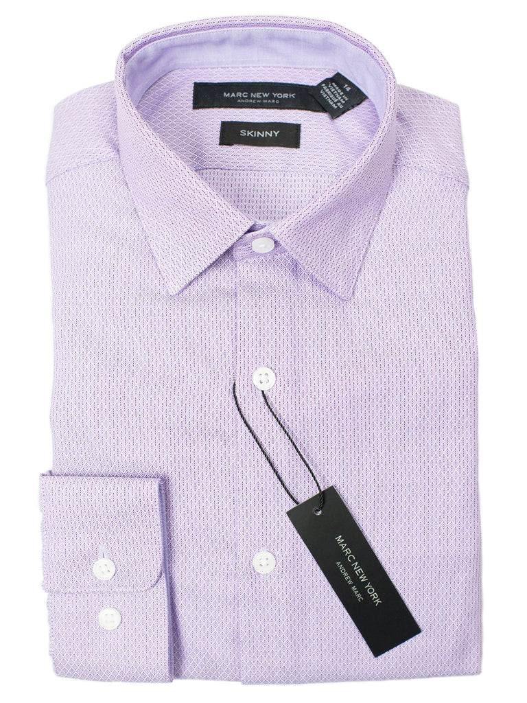 Andrew Marc 29289 Boy's Dress Shirt - Skinny Fit - Diamond Weave - Lavender