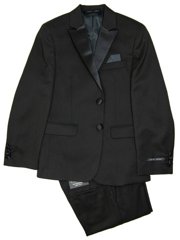 Image of Leo & Zachary 29342 Boy's Skinny Fit Tuxedo - Solid - Black
