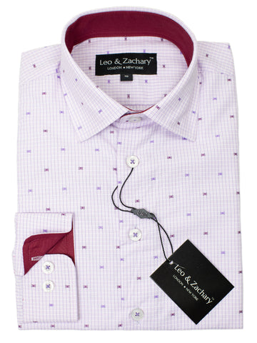Leo & Zachary 29408 Boy's Dress Shirt- Dot- Lilac