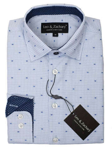 Leo & Zachary 29418 Boy's Dress Shirt- Dot-Blue/Navy