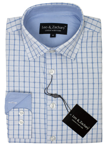 Leo & Zachary 29428 Boy's Dress Shirt- Windowpane- Blue