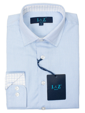 Leo & Zachary 29438 Boy's Dress Shirt- Graph -Azure Blue