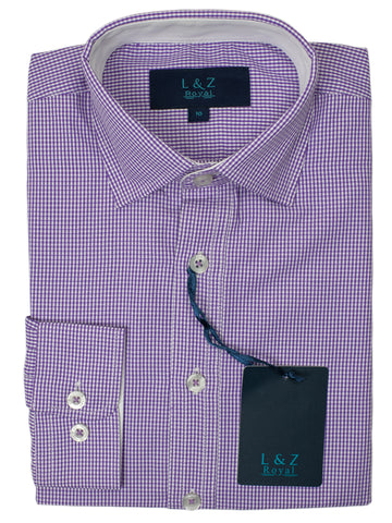 Leo & Zachary 29448 Boy's Dress Shirt- Check - Grape