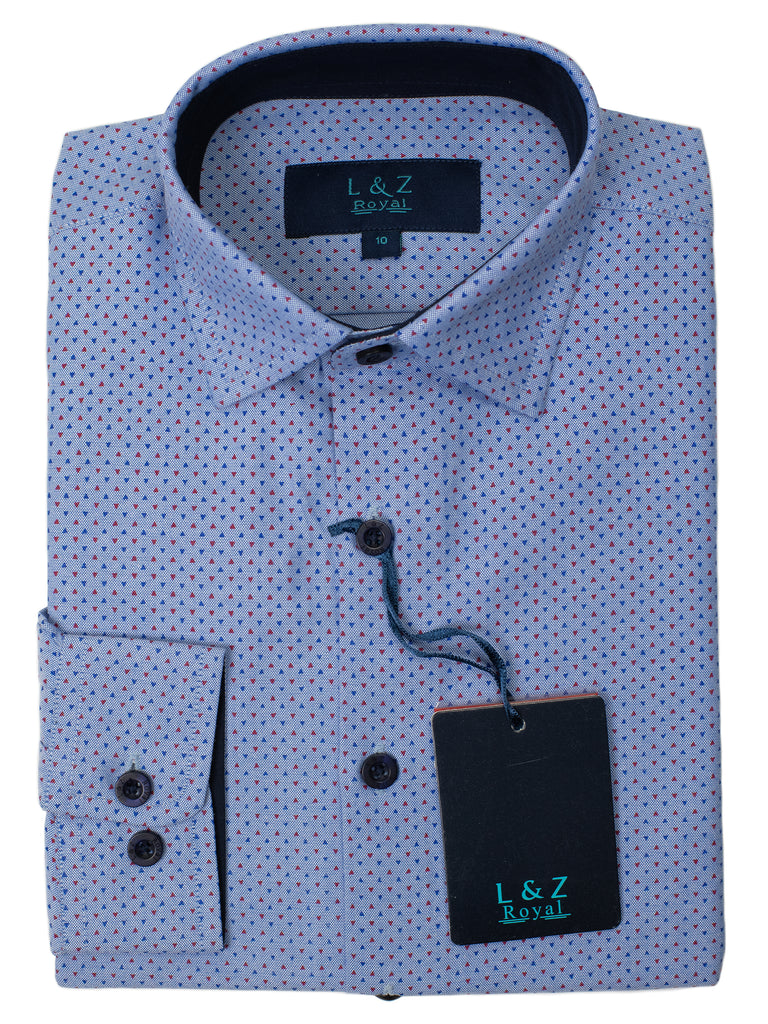 Leo & Zachary 29458 Boy's Dress Shirt- Triangles- Blue