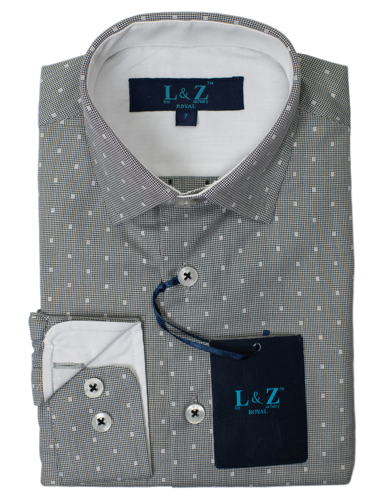 Leo & Zachary 29478 Boy's Dress Shirt- Neat-Grey