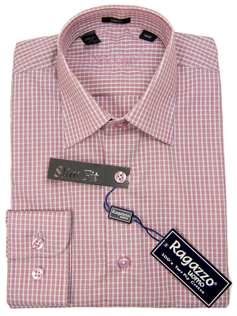 Ragazzo 29795 Boy's Dress Shirt - Slim Fit - Check - Red