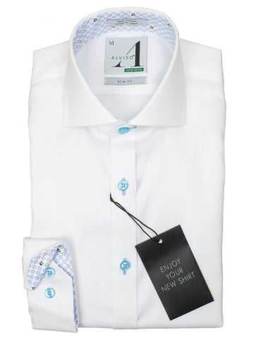 Alviso 29843 Boy's Slim Fit Dress Shirt - Solid Broadcloth - White - Contrast Collar/Cuff