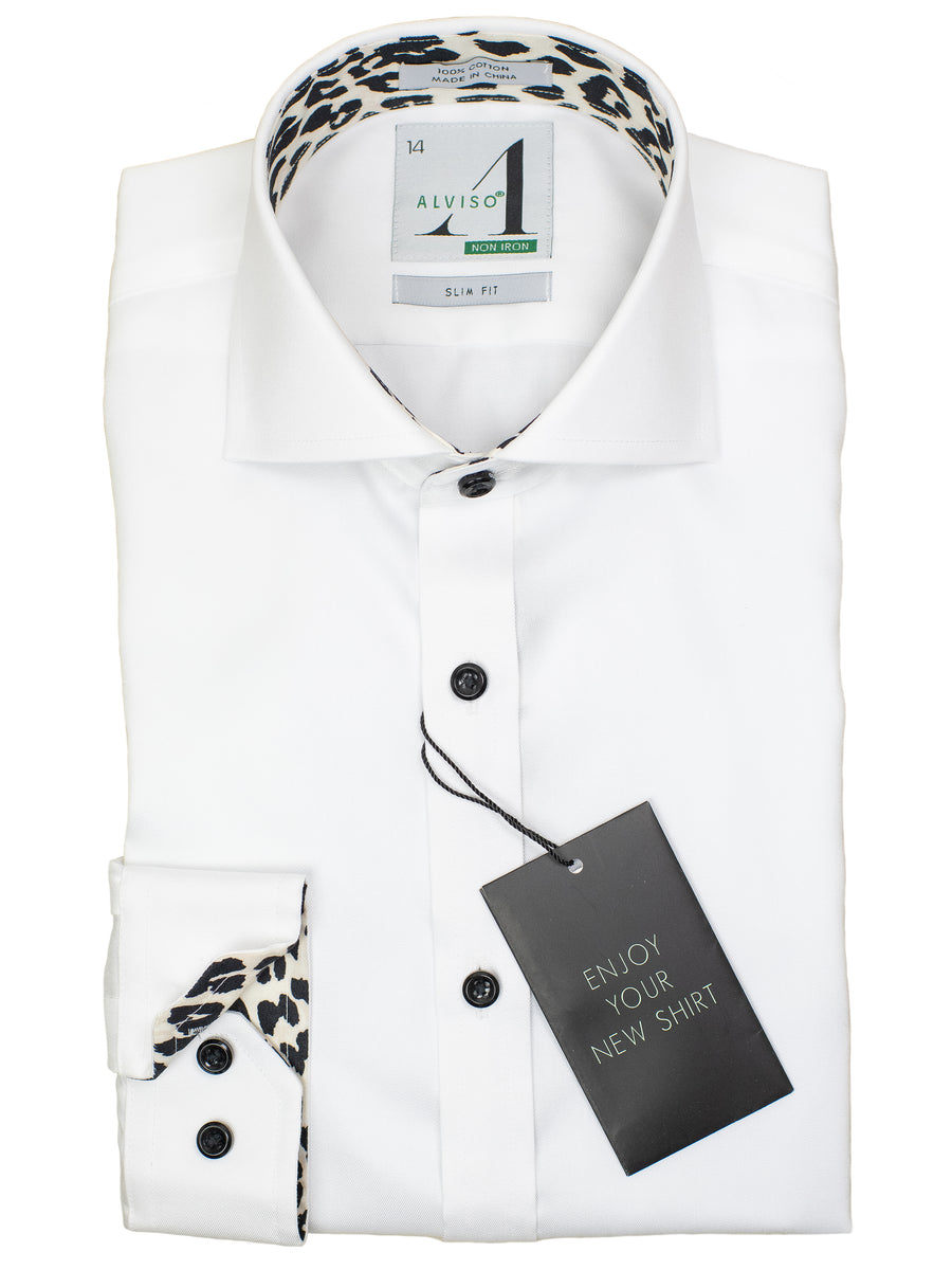 Alviso 29850 Boy's Slim Fit Dress Shirt - Solid Broadcloth - White - Contrast Collar/Cuff