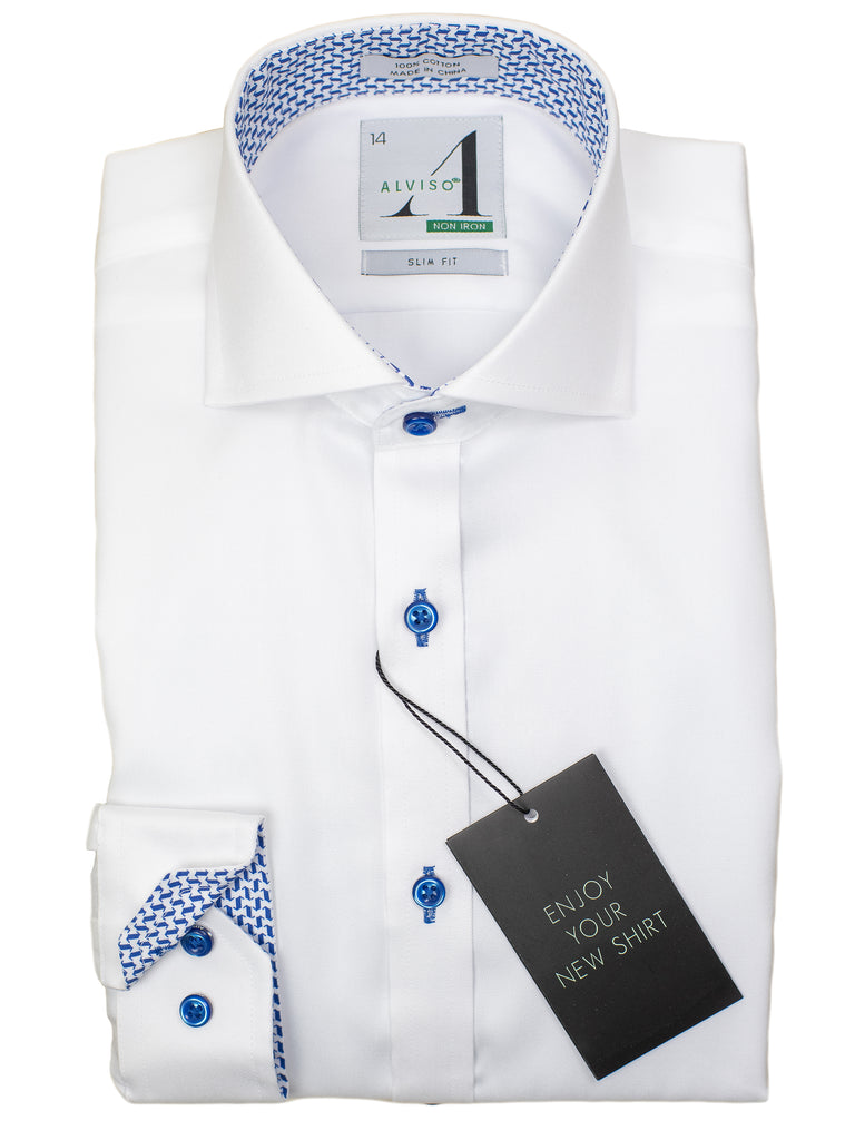 Alviso 29857 Boy's Slim Fit Dress Shirt - Solid Broadcloth - White - Contrast Collar/Cuff