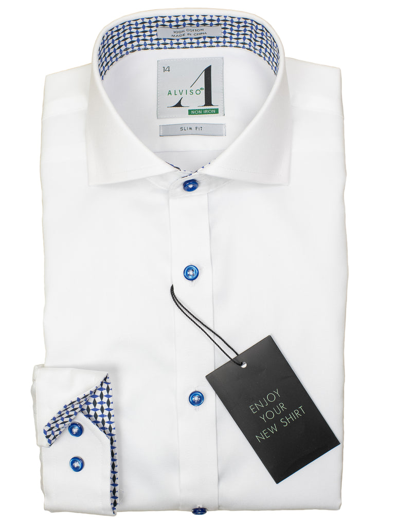 Alviso 29864 Boy's Slim Fit Dress Shirt - Solid Broadcloth - White - Contrast Collar/Cuff